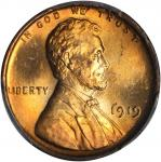 1919 Lincoln Cent--Cracked Planchet @ 12:30, Obverse and Reverse--MS-65 RD (PCGS).