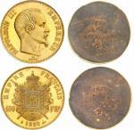 Napoléon III (1852-1870). 100 francs 1855, paire d'épreuves unifaces en bronze doré sur flan bruni,