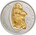アンドラ (Andorra) 新憲法制定 50ディナール金・銀2色貨 1994年 KM104 / 1st Anniversary Andorran Constitution 50 Diners Bi-