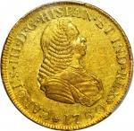 COLOMBIA. 1760-J 4 Escudos. Popayán mint. Carlos III (1759-1788). Restrepo M64.2. AU-58 (PCGS).