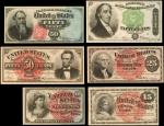 Lot of (6) Fr. 1267, 1257, 1301, 1374, 1379, 1376. Fourth Issue Fractional Currency. About Uncircula