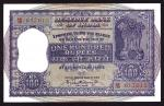 Reserve Bank of India, 100 rupees, ND, red prefix AB/38, purple, Ashoka column at right, Bhattachary