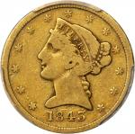 1843-D Liberty Head Half Eagle. Medium D. Fine-12 (PCGS).