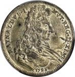 ITALY. Modena. 80 Soldi (1/2 Ducato), 1728. Rinaldo dEste (1706-37). PCGS AU-58 Gold Shield.