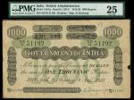 x Government of India, 1000 rupees, Bombay, 9 August 1918, serial number SD/70 31192, black and whit