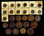 MIXED LOTS. Group of Bronze Medals and Trade Tokens (28 Pieces), ND (ca. 1790-1946). Grade Range: FI