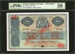 SCOTLAND. British Linen Bank. 100 Pounds, 1962. P-165s. Specimen. PMG Choice About Uncirculated 58.