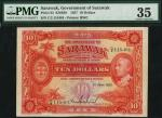 Government of Sarawak, $10, 1 June 1937, serial number C/2 115,461, red on multicolour underprint, B