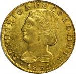 COLOMBIA. 1832/1-UR 8 Escudos. Popayán mint. Restrepo M166.30. AU-58 (PCGS).
