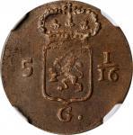 1808年荷兰巴达维亚共和国1Duit。NETHERLANDS EAST INDIES. Batavian Republic. Duit, 1808. NGC MS-63 Brown.