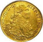 COLOMBIA. 1818-JF 8 Escudos. Santa Fe de Nuevo Reino (Bogotá) mint. Ferdinand VII (1808-1833). Restr