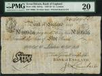 Bank of England, Henry Hase (1807-1829), 」5, London 10 October 1818, serial number 10936, black and