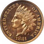 1881 Indian Cent. Snow-PR1. Proof-66 RD Cameo (PCGS).