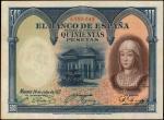 SPAIN. El Banco de Espana. 500 Pesetas, 1927. P-73c. Very Fine.