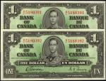 CANADA. Lot of (2). Bank of Canada. 1 Dollar, 1937. P-58d. Consecutive. Uncirculated.