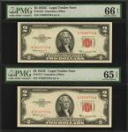 Lot of (8) Fr. 1509, 1510, 1512 & 1514. 1953 to 1963A $2  Legal Tender Notes. PMG Choice Uncirculate