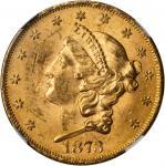 1873 Liberty Head Double Eagle. Open 3. MS-63 (NGC).