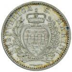 Italian coins;SAN MARINO Lira 1898 - Gig. 27 AG (g 5.00) R Gradevole patina - FDC;100