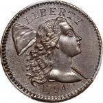 1794 Liberty Cap Cent. S-64. Rarity-5-. No Fraction Bar. MS-62 BN (PCGS).