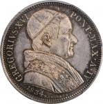 ITALY. Papal States. 50 Baiocchi, 1834-R Year IV. Rome Mint. Gregory XVI. PCGS MS-64+ Gold Shield.