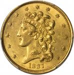 1837 Classic Head Half Eagle. McCloskey-2. Large Date, Large 5. MS-61 (PCGS).