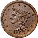 1852 Braided Hair Half Cent. First Restrike. B-2. Rarity-5. Small Berries. Proof-65 BN (PCGS). CAC.