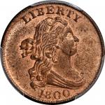 1800 Draped Bust Half Cent. C-1, the only known dies. Rarity-2. MS-62+ RD (PCGS).