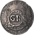 JAMAICA. 6 Shillings 8 Pence, ND (1758). Act of 18 November 1758. George II (1727-60). NGC EF-40.