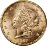 1857-S Liberty Head Double Eagle. Variety-20C. Narrow Serif. With One Pinch of California Gold Dust.