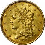 1834 Classic Head Half Eagle. HM-1. Rarity-3. Plain 4. MS-63+ (PCGS).
