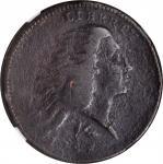1793 Flowing Hair Cent. Wreath Reverse. S-11A. Rarity-4+. Vine and Bars Edge. VF Details--Environmen