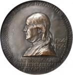 1906 Benjamin Franklin Bicentennial Medal. Bronze. 100mm. By Augustus and Louis Saint-Gaudens. Green