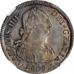 CHILE. 4 Reales, 1807-So FJ. Santiago Mint. Charles IV. NGC MS-62.