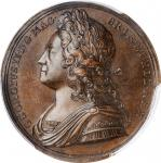 GREAT BRITAIN. George II Coronation Bronze Medal, 1727. London Mint. PCGS SPECIMEN-63 Gold Shield.