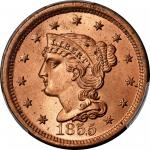 1855 Braided Hair Cent. N-4. Rarity-1. Upright 5s. MS-66+ RD (PCGS).