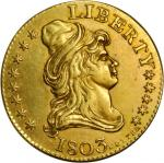 1803 Capped Bust Right Half Eagle Kettle Token. Judd-C1803-3, Pollock-8020. Rarity-5. Gilt Brass. Pl