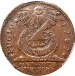 1787 Fugio Copper. Pointed Rays. Newman 19-Z, W-6975. Rarity-5. TATES UNITED, Label With Raised Rims