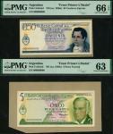 El Banco Central de la Republica Argentina, obverse composite essay on board 50 centavos and 5 pesos