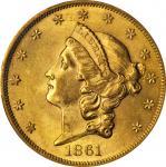 1861 Liberty Head Double Eagle. MS-62 (PCGS).
