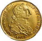 PERU. 8 Escudos, 1767-LM JM. Lima Mint. Charles III. NGC AU-58.