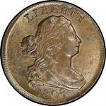 1808 Draped Bust Half Cent. Cohen-3, Breen-3. Rarity-1. Mint State-64+ BN (PCGS).