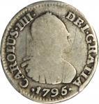 COLOMBIA. 1795-JJ 1/2 Real. Santa Fe de Nuevo Reino (Bogotá) mint. Carlos IV (1788-1808). Restrepo 7