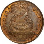 """1787"" Fugio copper. ""New Haven Restrike."" Newman 104-FF, W-17560. Brass. MS-63 (PCGS)."