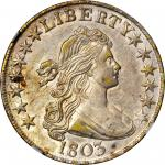 1803 Draped Bust Half Dollar. O-101, T-1. Rarity-3. Large 3, Small Reverse Stars. AU-50 (NGC).