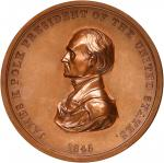 1845 James K. Polk Indian Peace Medal. First Size. Bronzed Copper. 76 mm. Julian IP-24. Mint State.