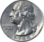 1944 Washington Quarter--Struck on a Zinc-Coated Steel Cent Planchet--AU Details--Tooled (PCGS).