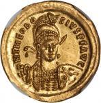 THEODOSIUS II, A.D. 402-450. AV Solidus (4.47 gms), Constantinople Mint, ca. A.D. 430-440. NGC MS*,