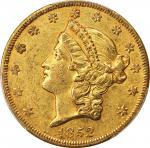 1852-O Liberty Head Double Eagle. Winter-1, the only known dies. AU-50 (PCGS). CAC.