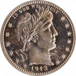 1913 Barber Quarter. Proof-66 Cameo (PCGS).