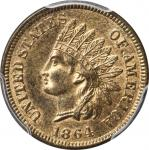 1864 Indian Cent. Bronze. L on Ribbon. MS-65 RB (PCGS). CAC.